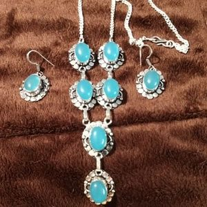 925 Silver and Chalcedony necklace/earrings set